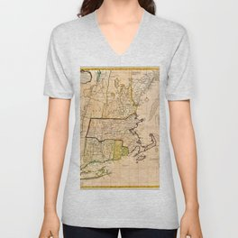 1771 Old World Map of New England Unisex V-Neck