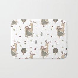 Girl and Deer - white Bath Mat