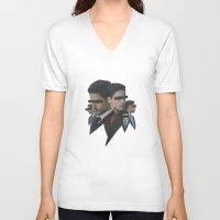 shark V-neck T-shirts featuring Shark by fabiotir