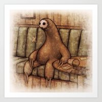 drunk Art Prints featuring Drunk Sloth by Brian Coldrick