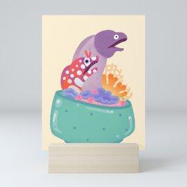 Eel flower pot Mini Art Print