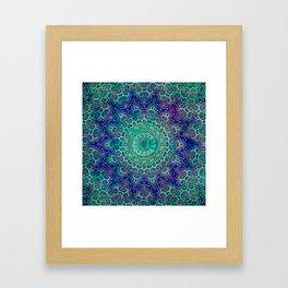 Aqua and Violet Mandala Lace Framed Art Print