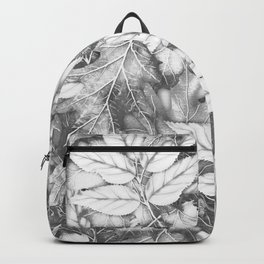 Autumn black white maple leaves bohemian floral pattern Backpack