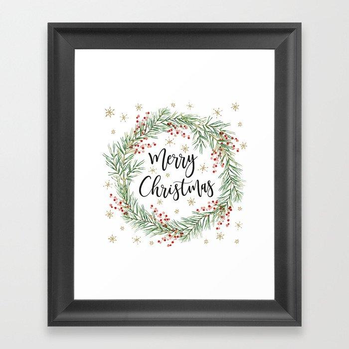 Merry Christmas wreath with red berries Gerahmter Kunstdruck