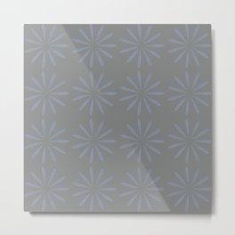 Blue Grey Floral Pattern Metal Print