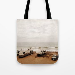 Campers on the beach Tote Bag
