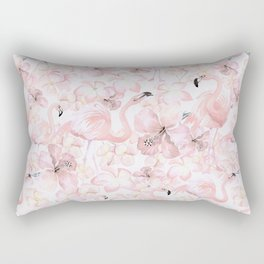 Flamingo and Tropical Flower Pattern Rectangular Pillow