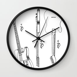 Electric Guitar Patent - Guitar Player Art - Black And White Wall Clock