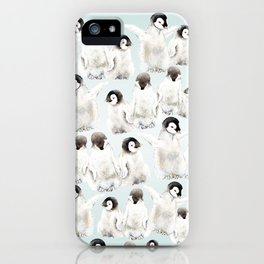 Playful Penguin Chicks - Watercolor Painting iPhone Case