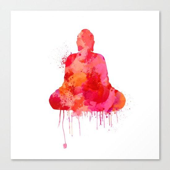 Red Buddha Watercolor art Canvas Print