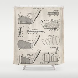 Golf Clubs Patent - Golfing Art - Antique Shower Curtain