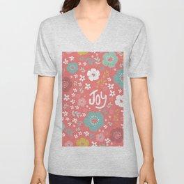 Cute Christmas Flowers Pattern & Text Joy Unisex V-Neck