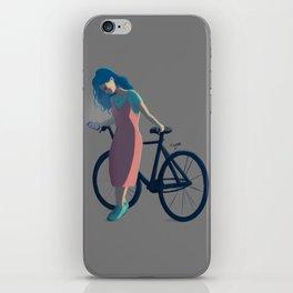 Bicycle Blue Hair Girl iPhone Skin