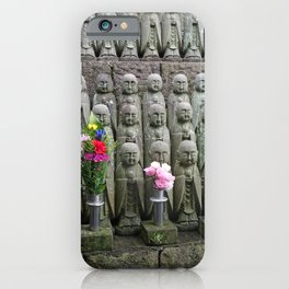 jizo statues with flowers in japan iPhone Case