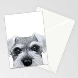 Schnauzer Grey&white, Dog illustration original painting print Stationery Cards
