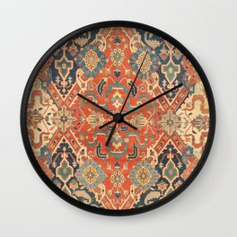 Geometric Leaves VII // 18th Century Distressed Red Blue Green Colorful Ornate Accent Rug Pattern Wall Clock