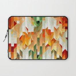Geometric Tiled Orange Green Abstract Design Laptop Sleeve