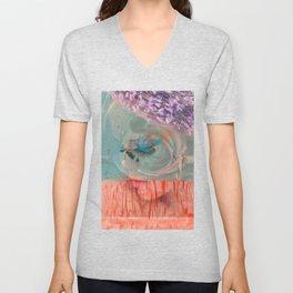 lavender, blue & peach portrait Unisex V-Neck