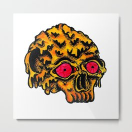 Skull Melting Metal Print