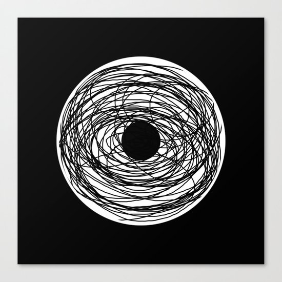 Eye Of The Storm - Abstract, black and white, minimalistic, minimal artwork Canvas Print