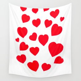 Red Hearts Wall Tapestry