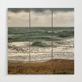 Land and sea under stormy clouds Wood Wall Art