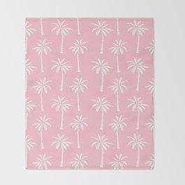Palm trees pink tropical minimal ocean seaside socal beach life pattern print Throw Blanket