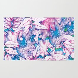 Colorful pink teal watercolor abstract leaves floral Rug