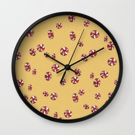 Peppermint Candy in Yellow Wall Clock