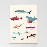 sharks Stationery Cards featuring Sharks by Simon Alenius