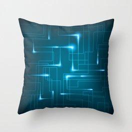 Blue Neon Circuit Board Design Throw Pillow
