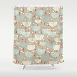 Botanical Block Print M+M Latte by Friztin Shower Curtain