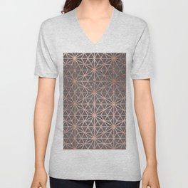 Modern rose gold stars geometric pattern Christmas grey graphite concrete industrial cement Unisex V-Neck