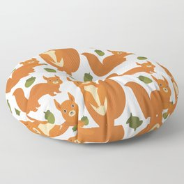 Seamless pattern Set of funny red squirrels with fluffy tail with acorn  on white background Floor Pillow