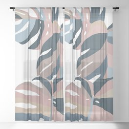 Pastel Monstera  Sheer Curtain