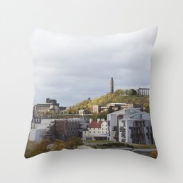 View of Holyrood and Calton Hill Edinburgh Throw Pillow