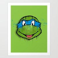 ninja turtle Art Prints featuring TURTLE POWER (NINJA TURTLE) by EAZYYOKEART