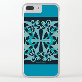 Support Love Mandala x 2 - Teal/Black Clear iPhone Case
