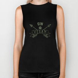 Gin Is Vegan Drinking Quote - Funny Alcohol Saying Gift Biker Tank
