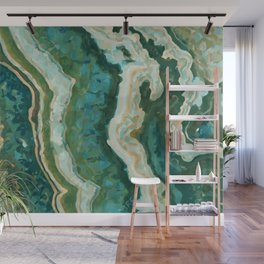 Blue Green Onyx Marble Abstract Vector Art Wall Mural