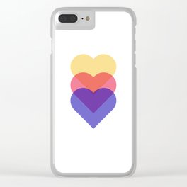 colorful hearts - blue red and yellow Clear iPhone Case
