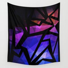 Abstract print of triangles polygon print. Bright dark design colors Wall Tapestry