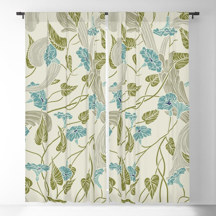 Mint Blue Green Fl Blackout Curtain