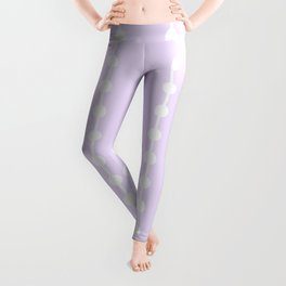 Geometric Droplets Pattern Linked - Pastel Lilac and White Leggings