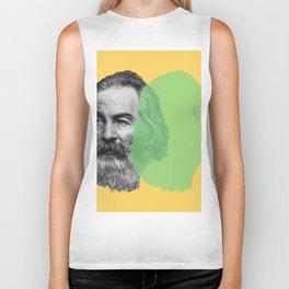 Walt Whitman portrait yellow green Biker Tank