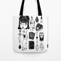 loll3 Tote Bags featuring teen Witch by lOll3
