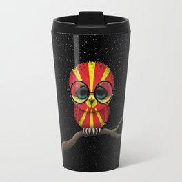 Baby Owl with Glasses and Macedonian Flag Travel Mug
