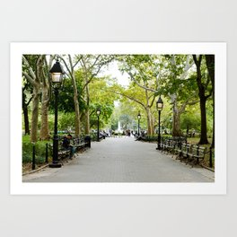 Morning Stroll in the Village Art Print