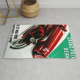 1951 Bern Switzerland Alpine Grand Prix Moto Racing Championnats du Monde Vintage Poster Rug