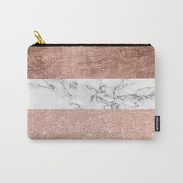 Modern chic color block rose gold marble stripes pattern Carry-All Pouch